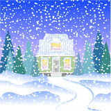 A small house with an attic in the winter forest with fir trees. House in snowy forest Royalty Free Stock Image