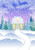 A small house with an attic in the winter forest with fir trees. House in snowy forest Royalty Free Stock Photography