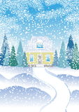 A small house with an attic in the winter forest with fir trees. House in snowy forest. Christmas winter landscape with a house Stock Photo