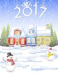 A small house with an attic in the winter forest with fir trees. winter card Happy New Year. Little red cottage in the winter forest. winter landscape with a vector illustration