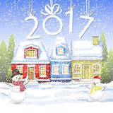A small house with an attic in the winter forest with fir trees. winter card Happy New Year. Little red cottage in the winter forest. winter landscape with a royalty free illustration