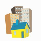 Small house in the background high-rise buildings. Small one-story house in the background high-rise buildings Royalty Free Stock Photography