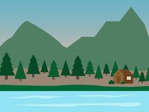 A small house on the Bank of the river. vector illustration