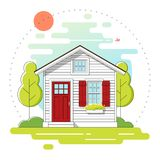 Small house and beautiful rural landscape day scene background in flat line art style. Vector , illustration Stock Photography