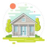 Small house and beautiful rural landscape day scene background in flat line art style. Vector , illustration Stock Images