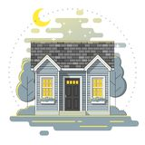 Small house and beautiful rural landscape night scene background in flat line art style. Vector , illustration Royalty Free Stock Images