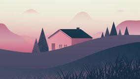Small house behind small hills landscape, pink and purple tones. Small house behind small hills landscape, in pink and purple tones vector illustration