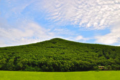 Small house in the big hill. With grass field in the blue cloud sky Stock Photography