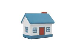 A small house with blue roof on a white background Royalty Free Stock Image