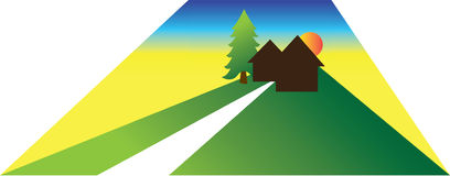 Small house or cabin illustration Royalty Free Stock Images