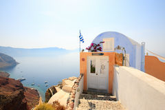 Small house with caldera and sea views Stock Photos