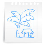 Small house cartoon_on paper Note. Hand draw Small house cartoon_on paper Note Stock Photos