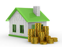Small house and cash on white background Royalty Free Stock Images
