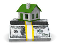 Small house and cash on white background Stock Image