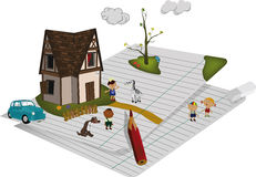Small house and children's playground Stock Images