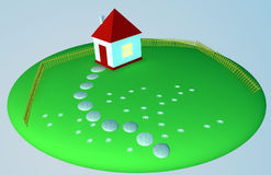 Small house on a clearing. Small house on a green clearing with a fence vector illustration