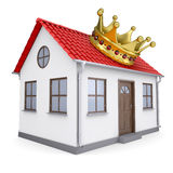 A small house with a crown. Isolated render on a white background Royalty Free Stock Photography