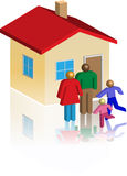 Small house family. 3d illustration of a family in front of her house Stock Photography
