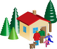 Small house family trees. 3d illustration of a family in front of her house and trees Royalty Free Stock Images