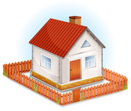 Small house with fence. Small village house with window, door, red roof and fence illustration stock illustration