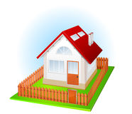 Small house with fence royalty free illustration