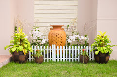 Small house fence. small home garden stock image