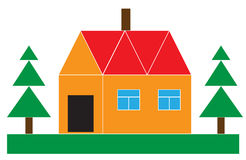 Small house with the firs Stock Photo