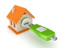 Small house and flash memory. On white background.3d rendered Royalty Free Stock Photography