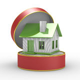 Small house in gift box Royalty Free Stock Photography