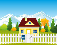 Small house on glade Royalty Free Stock Photo