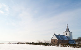 Small house of God. Small danish church in a winter landscape Stock Images