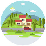 Small House On Green Hills with Blue Sky Background.Flat Style Vector Design. Small House On Green Hills with Blue Sky Background.House Among Trees and Bush on Royalty Free Stock Photos