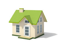 Small house with a green roof Stock Image