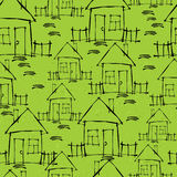 Small house on green seamless pattern Stock Photo