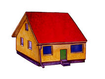Small house, handpainted picture Stock Photography