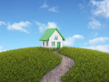 Small house on a hill Royalty Free Stock Image