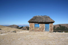 Small house or hut on Isla del Sol in Bolivia Stock Image