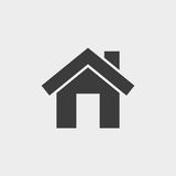 Small house. Icon Vector in black on a gray background Stock Photo