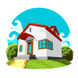 Small House. Illustration of small  house on the green lawn Stock Photography