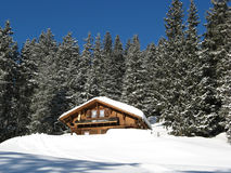 Small House In Alps Royalty Free Stock Photos