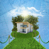 Small house with land Royalty Free Stock Photo