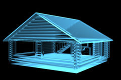 Small House, Log Cabin (3D xray blue) Stock Photos