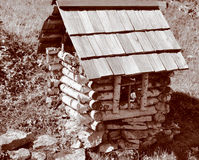 A small house made ​​of birch Stock Image