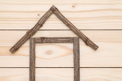Small house made of branches Royalty Free Stock Image