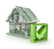Small house made of dollars and green tick mark. Royalty Free Stock Photography