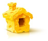 Small house made of yellow porous cheese Stock Images