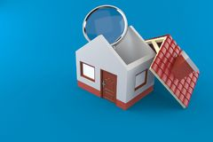 Small house with magnifying glass. Isolated on blue background Royalty Free Stock Image