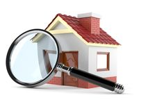 Small house with magnifying glass. Isolated on white background Stock Photos