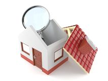 Small house with magnifying glass. Isolated on white background Stock Photography