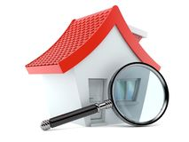 Small house with magnifying glass. On white background Stock Photos